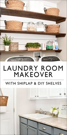 Budget Laundry Room Makeover With DIY Shiplap And Stained Shelves