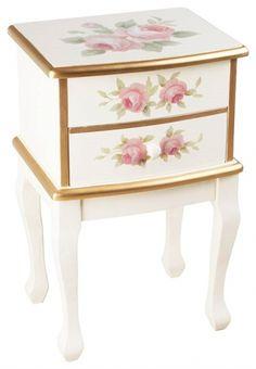"""Noptieră """"Romantique"""" - muchiile aurite îi sporesc eleganţa, iar spre desăvârşire vine delicata decoraţie picturală cu roze în floare.  http://www.retroboutique.ro/mobila/noptiere/noptiera-romantique-886"""
