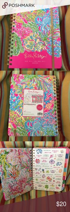 Lilly Pulitzer Agenda 2016-2017 Large Planner Lilly Pulitzer Large Agenda New! And with stickers! Exotic Garden  August 2016-December 2017  This Lilly Pulitzer large Agenda is better than ever!  This 17-month agenda is useful and unique. It's a daily agenda full of frisky fun!  The colored tabs make for happy planning!  The best day planner ever (its's a Lilly planner after all) Your friends will turn pink with envy!  Weekly and monthly pages featuring painted Lilly Pulitzer prints.  Lilly…