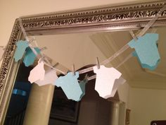 Mini baby onesie garland blue and white baby shower decoration boy via Etsy
