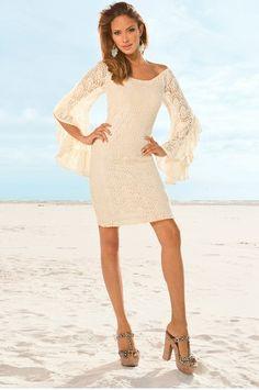 Bell-sleeve crochet dress #bostonproper