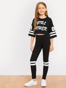 Shop Girls Letter and Striped Print Top and Leggings Set online. SHEIN offers Girls Letter and Striped Print Top and Leggings Set & more to fit your fashionable needs. Back To School Outfits For Kids, Kids Outfits Girls, Cute Girl Outfits, Sporty Outfits, Cute Outfits For Kids, Cute Casual Outfits, Clothes For Kids, Stylish Outfits, Men Casual