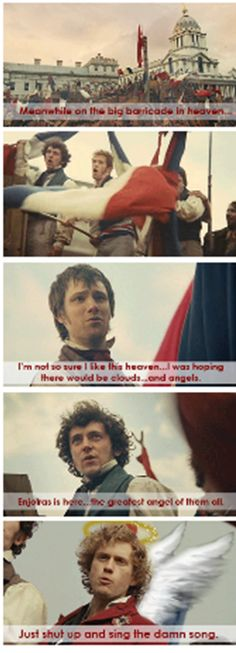 Meanwhile, at the barricade in heaven... everyone just sing the damn song (omg someone actually gave aaronjolras wings)