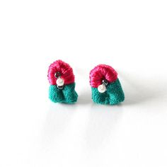 Collage Tassel Stud Earrings  Hand Sewn  Beaded  Limited