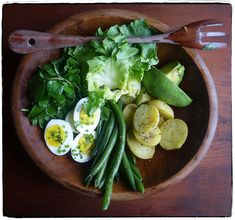 winter nicoise -- escarole, watercress, eggs, green beans, little potatoes, and avocado -- bathed in anchovy vinaigrette // Canal House Cooks Lunch