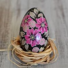 pisanka batikowa,świąteczna dekoracja - Inne - Wyposażenie wnętrz Crochet Hats, Knitting Hats