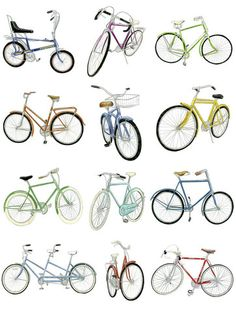 12 Bicycle Drawings -- art print by Christine Berrie Scooter Drawing, Bicycle Drawing, Bicycle Art, Bicycle Tattoo, Illustration Art, Illustrations, Bicycle Illustration, Buch Design, Art Plastique