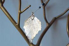 Large Fallen Silver Birch Leaf Necklace