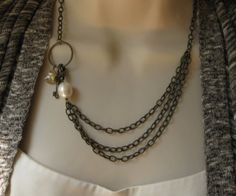 Treasures Necklace Vintage Brass Chains and Charms by BriguysGirls
