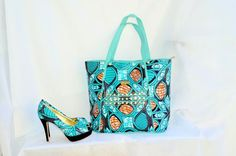 ERQE Blue African Print Peep Toe Shoe And Bag - Zabba Designs African Clothing Store  - 1