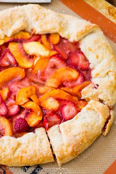 Classic rustic peach and strawberry galette