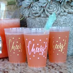 Custom Designed Cheers Frost Flex Cups by Gracious Bridal. The perfect way to celebrate any occasion! These personalized shatterproof plastic cups are wonderful for all sorts of events such as weddings, birthdays, showers, and cocktail parties.