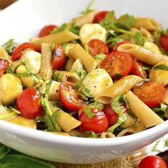 Caprese Pasta Salad is light and fresh - the perfect gluten-free spring and summer potluck or picnic salad!