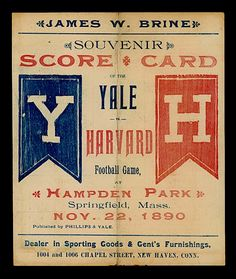 Here's a score card for a ball game between our rival Yale.  This was from my first year attending Harvard University, although it seems like it was only yesterday.