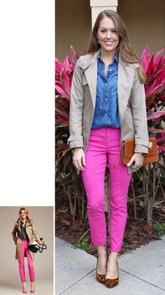 trench chambray shirt colored pants animal print heels