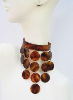Rare-Courreges-style-Vintage-70s-faux-tortoise-Celluloid-dog-collar-Necklace