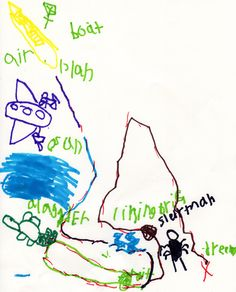 Austin's Illustrated Dream Map. He is 6 years old.  Featuring a boat, airplane, ocean, mountain, lightening, Slender Man and an alligator.