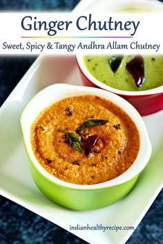 ginger chutney or allam chutney is a sweet, spiy & tangy condiment served with breakfasts & snacks Ginger Chutney Recipe, Indian Chutney Recipes, Indian Food Recipes, African Recipes, Curry Recipes, Vegetarian Recipes, Cooking Recipes, Rice Recipes, Indian Recipes
