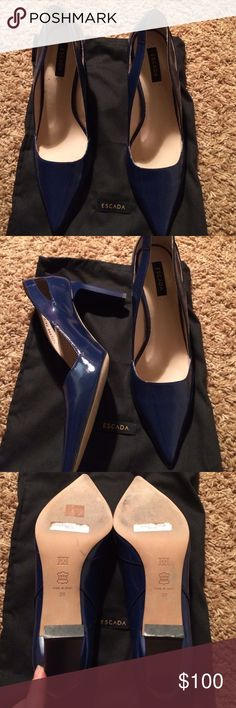 Escada blue high heels, size 38 Gorgeous rich blue patten leather. Great cut out design. Architectural heel. I so wanted to be that girl who could rock them, but, alas, after one special event, they have been relegated to the shelf. They need a life outside the closet. Escada Shoes Heels