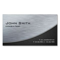 Professional Elegant Silver Modern Metal Black Business Card Templates. This is a fully customizable business card and available on several paper types for your needs. You can upload your own image or use the image as is. Just click this template to get started!