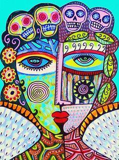 Tribal Turquoise Day Of The Dead Angel Painting - Tribal Turquoise Day Of The Dead Angel Fine Art Print Sandra Silberzweig, Frida Art, Canvas Prints, Art Prints, Day Of The Dead, Art Plastique, Art Lessons, Bunt, Folk Art