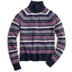 Women's J.crew Fair Isle Turtleneck Sweater ($98) ❤ liked on Polyvore featuring tops, sweaters, navy capri, polo neck sweater, fairisle sweater, navy turtleneck sweater, j crew sweaters and blue turtleneck sweater