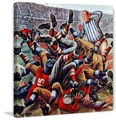 Marmont Hill Football Pile-Up Fine art canvas print from the Marmont Hill Art Co