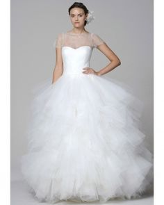 Marchesa-Tulle-Wedding-Dress - Not usually a fan of big puffy skirts, I make an exception for this next dress – this fantasy tulle skirt and delicate lace bodice (that looks almost finer than air) is a personal favourite… Marchesa Wedding Dress, Marchesa Bridal, Wedding Dress 2013, Used Wedding Dresses, Princess Wedding Dresses, Bridal Dresses, Wedding Gowns, Marchesa Spring, Tulle Wedding