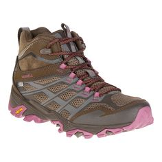 The Merrell Moab FST Mid Waterproof Women's Lite-Hiking Boots have a higher profile fit for ankle coverage but are still light to help you travel the trail with ease. Stylishly designed with 3D-printed uppers, the Boots keep feet dry and smelling fresh with waterproofing and an EVA footbed with organic antimicrobial protection.