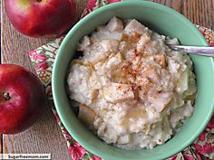 Crock Pot Apple Oatmeal: [No Sugar Added] | SugarFreeMom.com kids like this but it made way too much.  Will half next time. I will use steel cut oats next time because it made the oatmeal a little too soft for my taste.