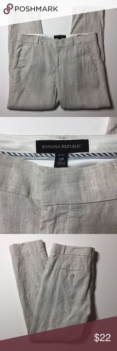 """Banana Republic Women's Linen Pants Size 2P. Natural linen color. 100% linen. Cropped style. Flat front with fly opening. Pockets in front and back. Waist measures 28"""". Inseam is 25"""". Excellent condition.  (16) Banana Republic Pants Ankle & Cropped"""