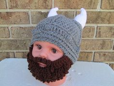 Ready to ship  My models head is 18 circumference  The hat is 16 circumference  Viking long beard hat. This is a great beanie lumberjack child boys