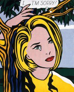 """Roy Lichtenstein """"I…I'm Sorry!"""" by Roy Lichtenstein Oil and Magna on canvas. Roy Lichtenstein Pop Art, Andy Warhol, Jasper Johns, Art And Illustration, Art Pop, Richard Hamilton, Modern Art, Contemporary Art, Industrial Paintings"""