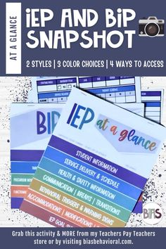 """An at-a-glance is a one-page snapshot, used to provide your special education team with a summary of important IEP or BIP information for each student on their caseload. This quick reference tool ensures consistency among staff. Ditch the binders filled with pages that are difficult to reference, and instead simplify the information into a single page containing only the """"need to know"""" details. A snapshot should NOT be used as a standalone document or created in place of an IEP or BIP."""