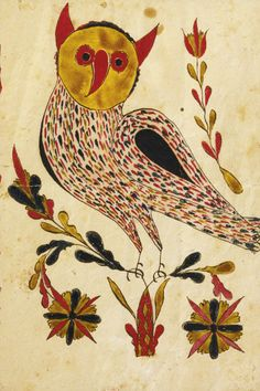 Esmerian collection. Sotheby's. 1/25/14. Lot 678. WATERCOLOR PRESENTATION FRAKTUR OF AN OWL PROBABLY LEHIGH COUNTY, PENNSYLVANIA, CIRCA 1810 5 1/4 by 3 1/2 in. Estimate 20,000 — 30,000 USD  LOT SOLD. 46,875 USD  (Hammer Price with Buyer's Premium)