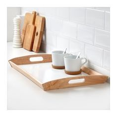 """2 for your coffee cart? 15 x 23"""" a good fit? KLACK Tray, rubberwood - IKEA"""