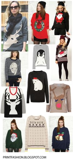 Ahh christmas jumpers:D Ugly Christmas Jumpers, Christmas Shirts, Festive Jumpers, Christmas Fashion, Christmas Knitting, Ugly Sweater, Pulls, Fashion Prints, Autumn Winter Fashion