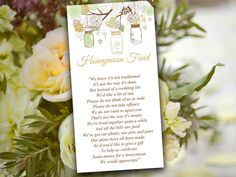 Mason Jar Wedding Honeymoon Fund Card Template - Rustic Wedding Invitation Insert Mint Gold Wedding Card - Wedding Card Box Insert Printable by PaintTheDayDesigns on Etsy