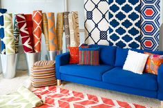 Bold colorful patterns in Surya's High Point display. #HPmkt