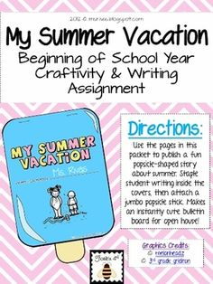 Kick off the new school year with a fun twist on the summer vacation writing prompt.  {popsicle-shaped writing craftivity}