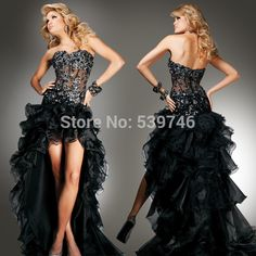 Find More Wedding Dresses Information about 2015 Hot Black low high bridal wedding dress Organza Sweetheart  Ruffles see through bride dress,High Quality Wedding Dresses from Beautiful Girl  Beauty Store on Aliexpress.com