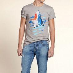 Hollister メンズ Tシャツ ホリスター Shark Graphic T-Shirt Tシャツ ★ホリスターを代表するロゴがプリントされています。 ★肌ざわり着心地バツグン!