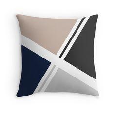 #Navy #Blue, #Beige,#DarkGrey, #Gray #Abstract #Geometric #Throwpillow #throw #pillow #modern #decor
