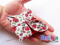 Faça uma flor de tecido quadrada passo a passo