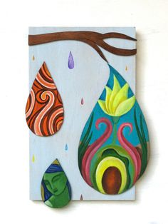SALE Abstract Rain drops tears cut out wood by ElizabethRosenArt Independent writing,  each raindrop tells a tale. What is the story in your, connect with water cycle.