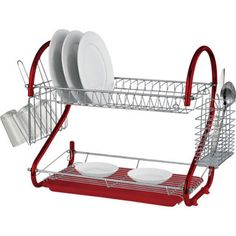 2 Tier Dish Drainer Chrome Rack with Glass Utensil Cutlery Caddy Drip Tray