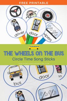 Download these free The Wheels on the Bus printable song sticks to use during your circle time! #circletime #music #fingerplays #songs #thewheelsonthebus #toddlers #preschool #teachers #homeschool #printable #teaching2and3yearolds Circle Time Board, Circle Time Songs, Circle Time Activities, Preschool Activities, Movement Activities, Music Activities, Motor Activities, Physical Activities, Preschool Music