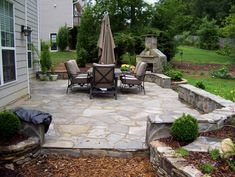 Beautiful Natural Flagstone Patio Designs: Cozy Outdoor Patio With Outdoor  Umbrella And Flagstone Patio Floor