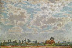 Emile Claus - Bewolkte hemel boven een Belgische boerderij