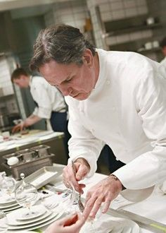 Chef Thomas Keller in the kitchen of the great French Laundry restaurant. The 'Crown Jewel' in his culinary crown, consisting of Bouchon, Bouchon Bakery, Per Se, Ad Hoc & Ad Hoc Addendum.